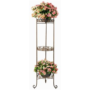 SheilaShrubs.com: 3 Tier Vine & Leaf Planter Stand PL230 by Deer Park Ironworks: Plant Stands