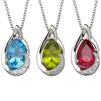 Sterling Silver .01 cttw Diamond and Gemstone 18-Inch Chain Pear-Shape Pendant Necklace