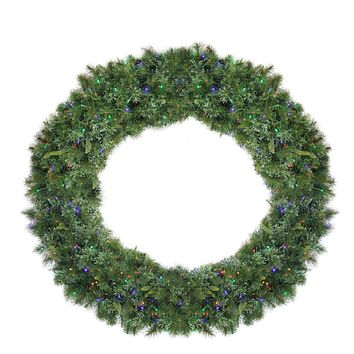 6' Pre-Lit Cashmere Mixed Pine Commerical Artificial Christmas Wreath - Multi LED Lights