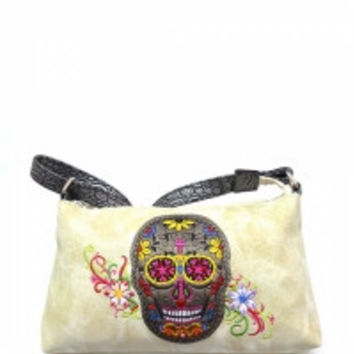 Sugar Skull Hobo Bag