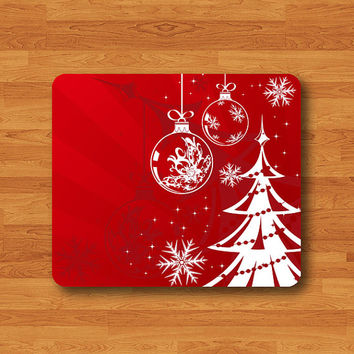 Red Christmas Drawing Mouse Pad Mat Wood Pattern Help Desk Deco Rubber Gift