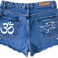 Om Symbol Shorts Hand Painted Vintage Distressed High Waisted Denim Buddhism Boho Coachella Hipster Small Medium W32