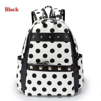 Boys Backpack Bag YAJIE Preppy Style Pupil Schoolbag Lovely Polka Dots Canvas s Casual Joker and girls Book Bag Hot Sale Satchel L091 AT_61_4