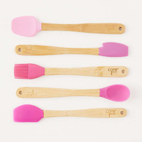 Core Bamboo Mini Silicone Cooking Utensil Set | Urban Outfitters