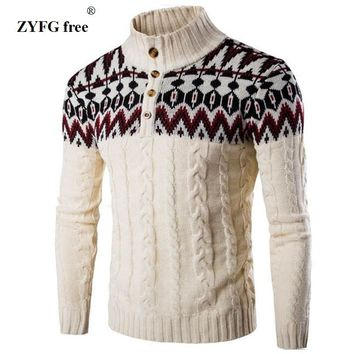 New men casual sweater fashion brand stand collar striped Slim knit Urban leisure sweater pullover Men's knitwear