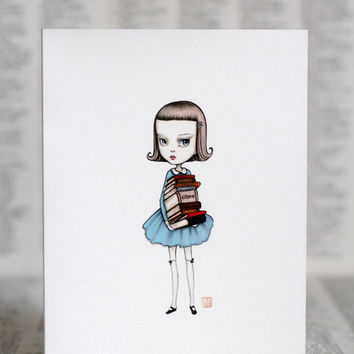 The Librarian - Bookie Girl - set of 3 blank note cards - by Mab Graves