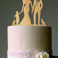 family wedding cake topper with dog and boy a cat, bride and groom silhouette, rustic cake topper, unique wedding cake topper, wedding decor