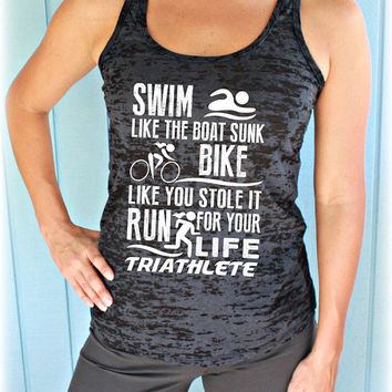 Womens Triathlon Tank Top. Swim Bike Run Race Day Tank. Burnout Tank Top. Workout Inspiration.