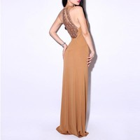 Bqueen Halter Brown Dress LN033Z - Designer Shoes|Bqueenshoes.com