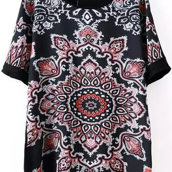 Red and Black Paisley Print Blouse