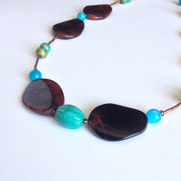 Long Brown Agate Necklace