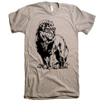 Mens Lion Professor T-Shirt - American Apparel Tshirt - XS S M L XL and XXL (28 Color Options)