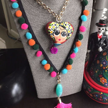 Frida Kahlo Ceramic Heart Hand Painted Necklace with Pompoms