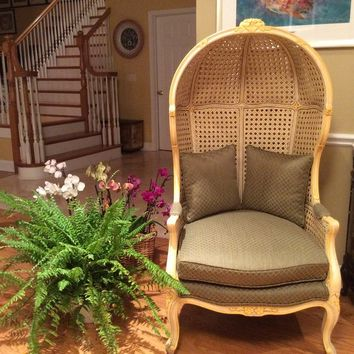 Vintage Double Caned Hooded Porter Chair
