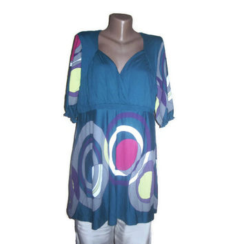 Boho Tunic, Plus Size Clothing, Maternity Clothing, Geometric Pattern, XXL Clothing, Cotton Tunic, Teal White Pink Purple Grey, Oversized