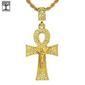"Jewelry Kay style NEW Men's Iced Out Ankh Cross Jesus Pendant & 22"" Rope Chain Set NA 9542 G"