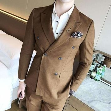 Groom Suit Solid Color Double Breasted 4 Colros Camcel Winered Black Grey Wedding Suit Male Costume Homme Elegant Men Suits 3xl
