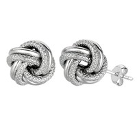 Sterling Silver Rhodium Finish 7mm Shiny And Textured Love Knot Stud Earrings