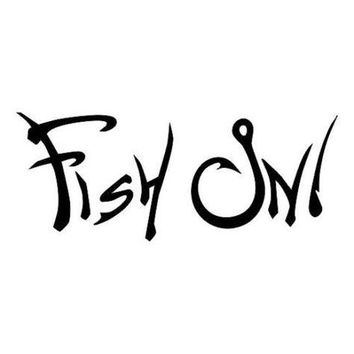 Fish On spelled with hooks Vinyl Decal Sticker