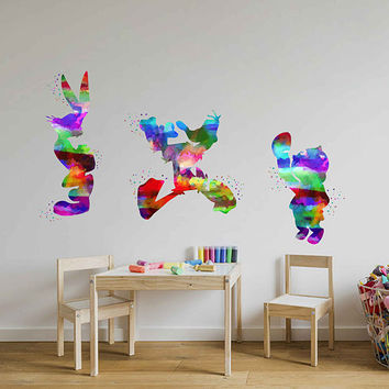 kcik2022 Full Color Wall decal Watercolor Character Disney Sticker Disney children's room Bugs Bunny rabbit Daffy Duck Porky Pig