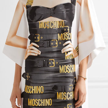 Moschino - Oversized printed cotton-blend jersey mini dress