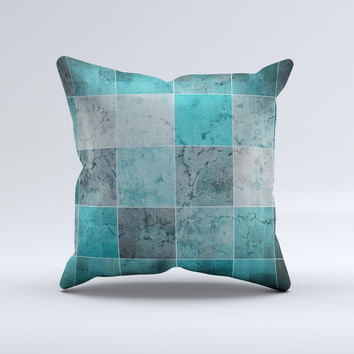 Dark Teal Tiled Pattern V2 ink-Fuzed Decorative Throw Pillow