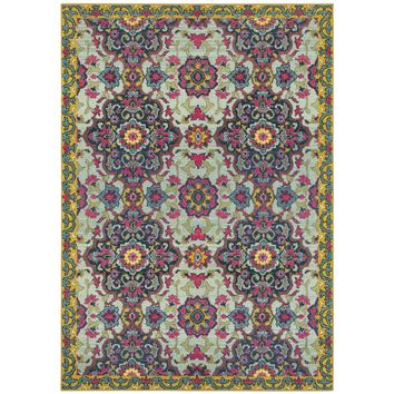 Oriental Weavers Bohemian Blue/Yellow Border 539E5 Area Rug