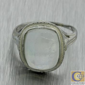 1930 Antique Art Deco Solid 18k White Gold Blue Cabochon Moonstone Cocktail Ring