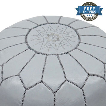 Gray Leather Moroccan Ottoman,Gray Moroccan Pouffe,Gray Moroccan Pouf,Gray Moroccan Footstool,Gray Pouf,Gray Ottoman,Gray Pouffe