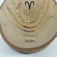ARIES Morse Code necklace, CUSTOM morse code, Secret Message, Dainty necklace, Personalized, Morse code jewelry, Birth necklace, sister Gift