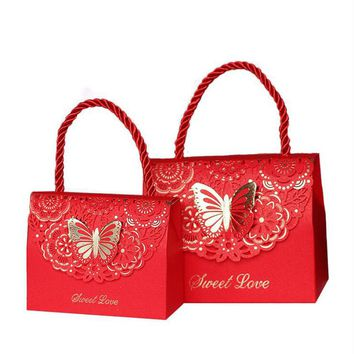 20pcs/lot Red Blue purple Butterfly Flower Candy paper gift box Wedding favor Portable Gift paper Bag Wedding Party Supplies