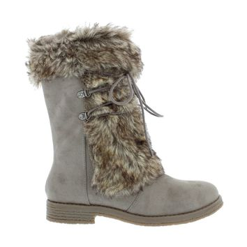 Faux Fur Lace Up Boot (TAUPE)