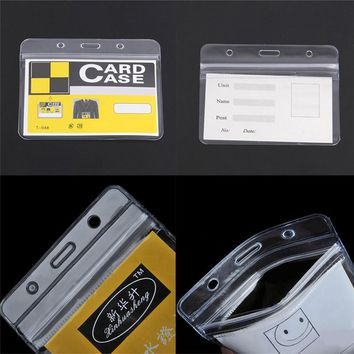 10 Pcs/lot Waterproof Pouches Convenient Clear PVC Exhibition ID Name Badge Card Plastic Pocket Holder Office Supplies 98x80mm