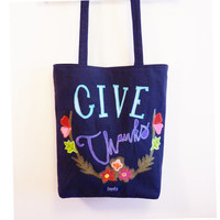 Thanksgiving canvas tote shopper bag dark gray give thanks thankful applicated flower wreath