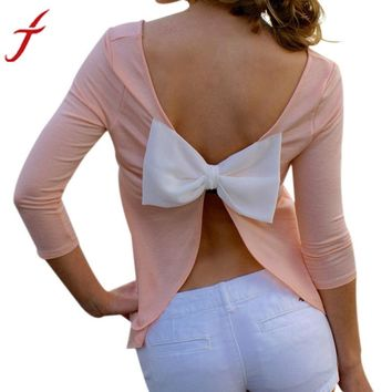 Casual women's blouse with bow