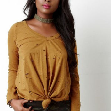 Distressed Tie-Knot Long Sleeve Top