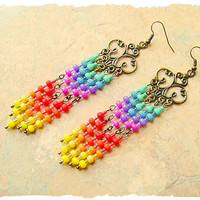 Colorful Boho Earrings, Bohemian Jewelry, Waterfall Rainbows, Long Vibrant Chandelier Earrings, bohostyleme, Kaye Kraus