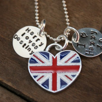 Harry Styles loves me Custom One Direction  British Flag Charm Necklace Pendant