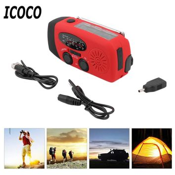 ICOCO 3in1 Portable Solar Hand Crank Flashlight, Charger, and Radio