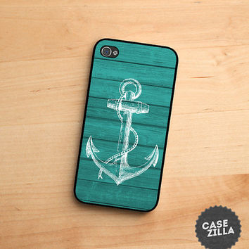 iPhone 5 Case Anchor Teal Wood iPhone 5S Case, iPhone 4/4S Case, iPhone 5C Case