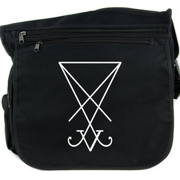 Sigil of Lucifer Cross Body Messenger School Bag Occult Satanic