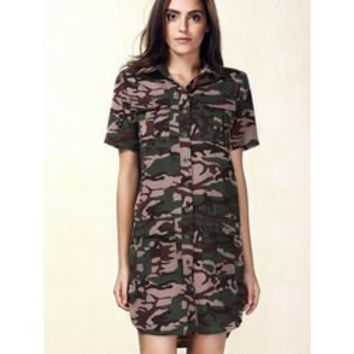 Stylish Short Sleeve Single-Breasted Camo Dress For Women