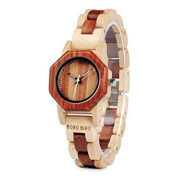 BOBO BIRD Women's Bamboo Wooden Watch Japan Analog Quartz Wrist Watch with White Secondhand Pointer Casual Watches