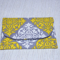 Lace and Dots Card Wallet Yellow and Gray