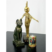 Isis Egyptian Goddess Sculpture, Protector of King Tut's Canopic Jars 14.5H