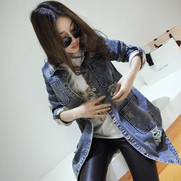 Denim Ripped Roll-Up Sleeve Jacket