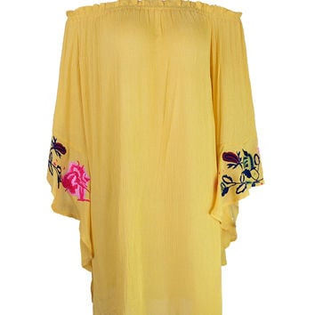 Yellow Off Shoulder Embroidered Bell Sleeve Beach Dress