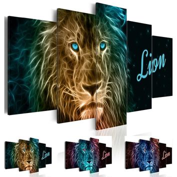 Fashion Wall Art Canvas Painting 5 Pieces Colorful Animal Lion Modern Home Decoration,Choose Color And Size No Frame