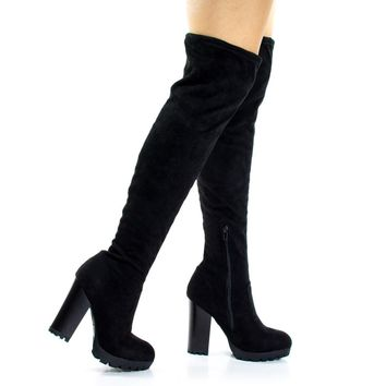 Gaby14s Black By Bamboo, OTK Over Knee Thigh High Pull-On Slouch Suede Boots w Threade
