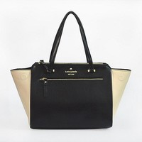 New Kate Spade Women Fashion Shopping Leather Tote Handbag Shoulder Bag Color Black & Off White